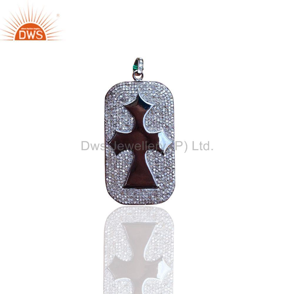 Natural Pave Diamond Religious Cross Pendant Sterling Silver Handmade Jewelry