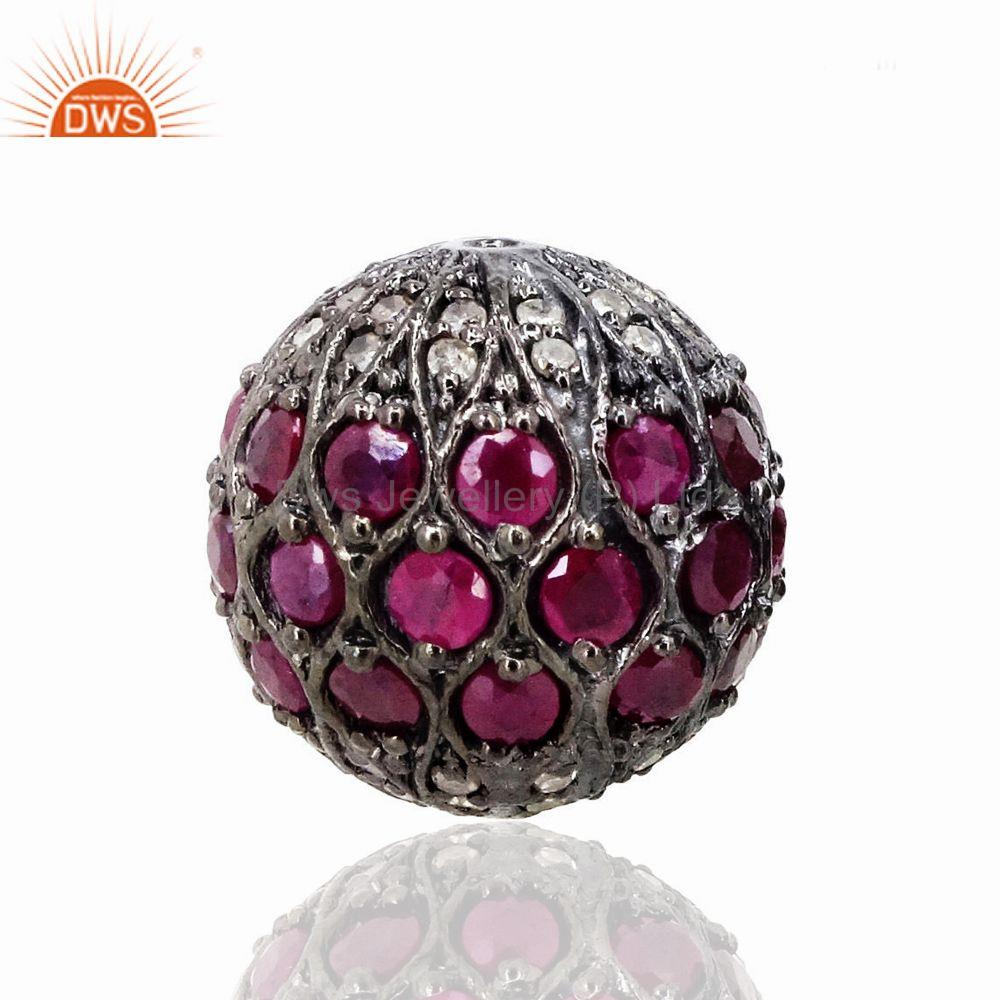 Ruby Gemstone Bead 925 Sterling Silver Spacer Ball Finding Jewelry 15mm