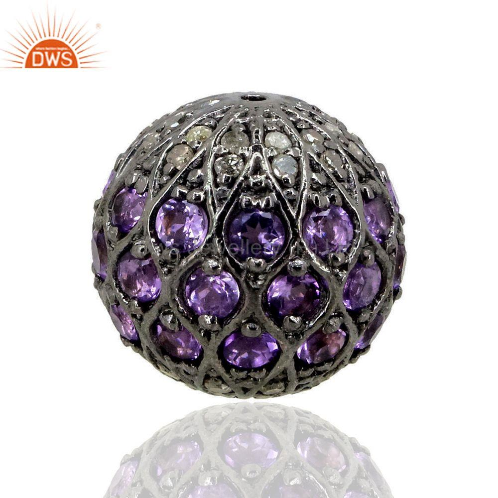 Diamond Gemstone Spacer Bead 925 Silver Amethyst Disco Ball Finding Jewelry 15MM