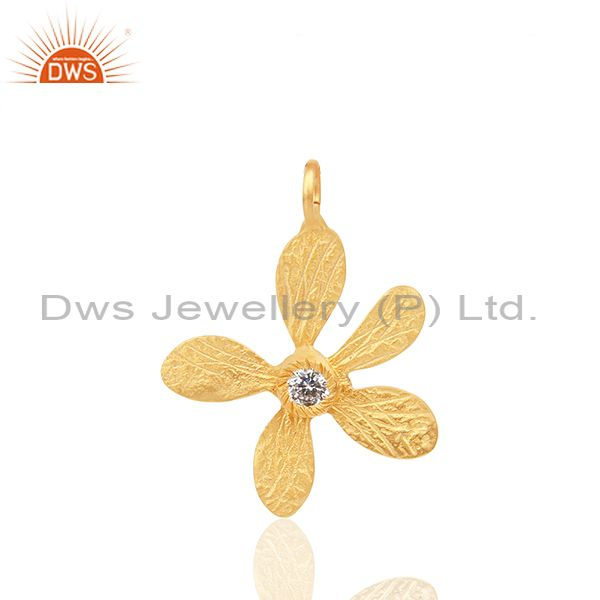 Floral Design Brass Gold Plated White Zircon Charm Jewelry Findings