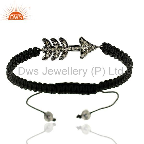 925 Sterling Silver Diamond Arrow Style Macrame Bracelet Handmade Gift Jewelry