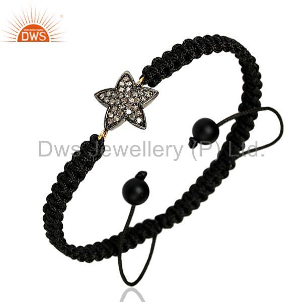 0.33 ct Diamond Onyx 14 k Gold 925 Sterling Silver Star Macrame Bracelet Jewelry