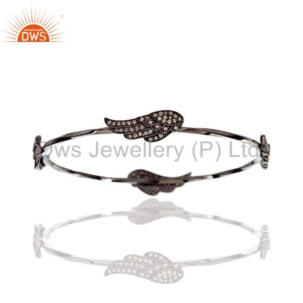 1.12ct Pave Diamond Angel Wing Design Bangle Sterling Silver Handmade Jewelry