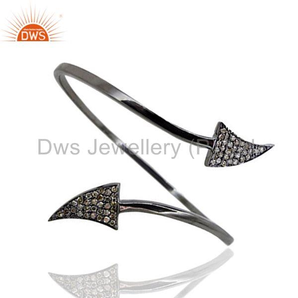 Pave Diamond ARROW HEAD Bangle Bracelet 925 Sterling Silver WONDERING Jewelry
