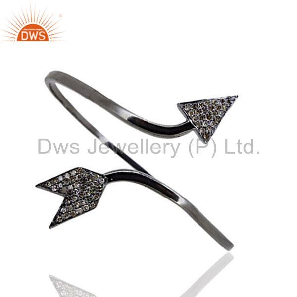 Diamond Pave Cuff Bangle 925 Sterling Silver Victorian Arrow Bracelet Jewelry