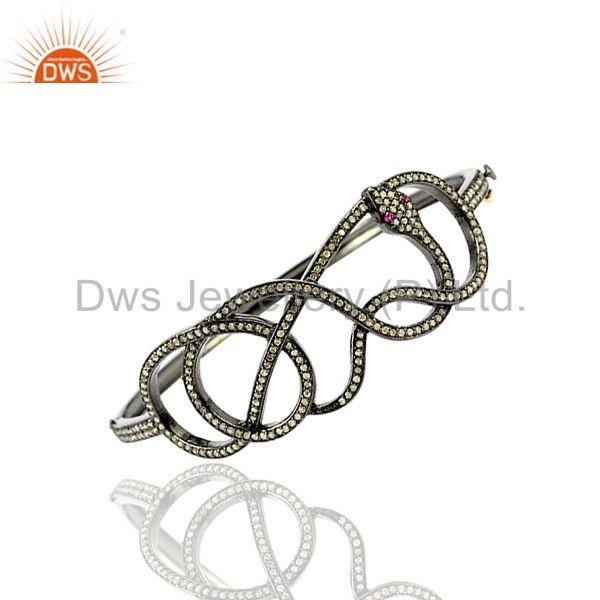 1.49ct Pave Diamond Ruby 925 Sterling Silver Wrap Snake Design Bangle Bracelet