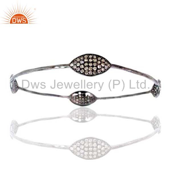 Natural 1.70ct Diamond Pave .925 Sterling Silver Bangle Bracelet Fashion Jewelry