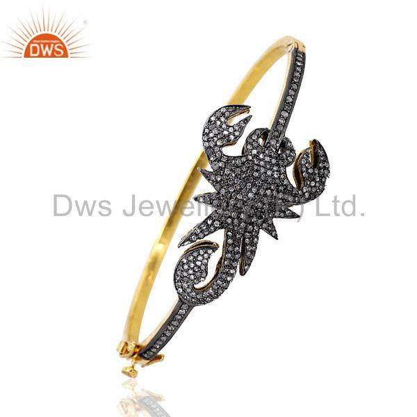 SCORPION Design .925 Silver 1.68 Ct Diamond Pave Bangle Vintage Inspired Jewelry