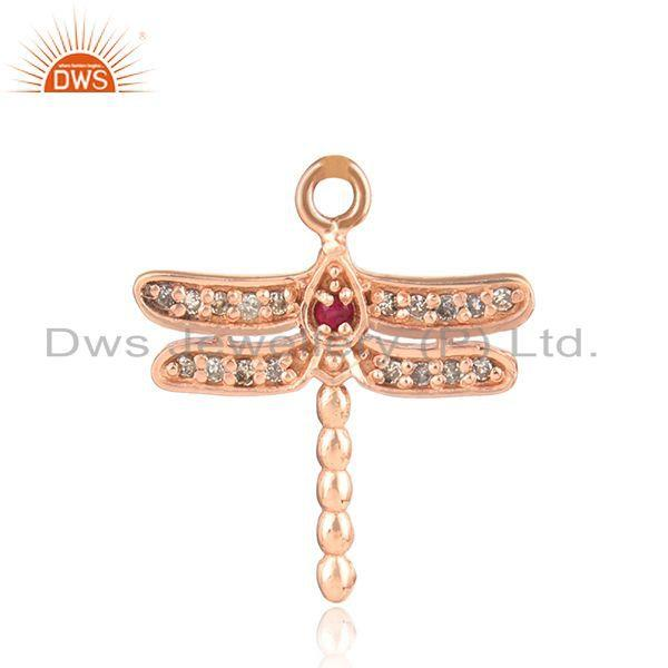 Designer dragonfly diamond charm in rose gold on silver and ruby