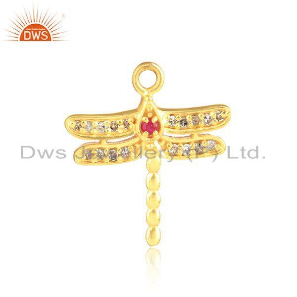 Designer Dragonfly Diamond Charm in Yellow gold on Silver and Ruby