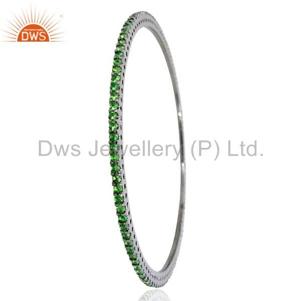 Natural Tsavorite Gemstone Solid Silver Bangle Manufacturers India