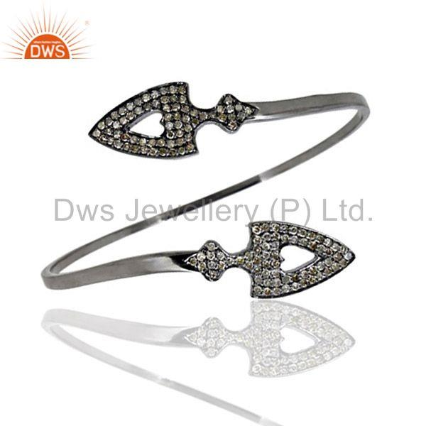 Arrow head cuff bangle 925 silver diamond vintage look jewelry qy
