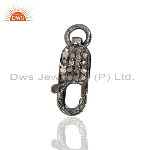 925 Sterling Silver Lobster Clasp Finding Natural Diamond Pave Fashion Connector