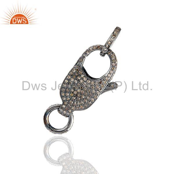 1.11ct pave diamond clasp lock connector finding .925 sterling silver jewelry