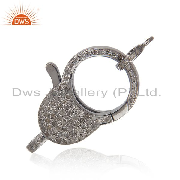 1.16 ct pave diamond .925 sterling silver clasp lock connector finding jewelry