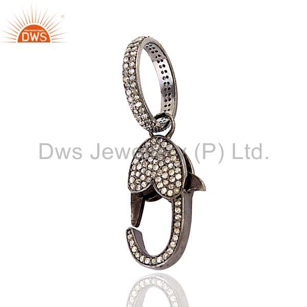 1.10 ct Pave Diamond .925 Sterling Silver Clasp Lock Connector Finding Jewelry