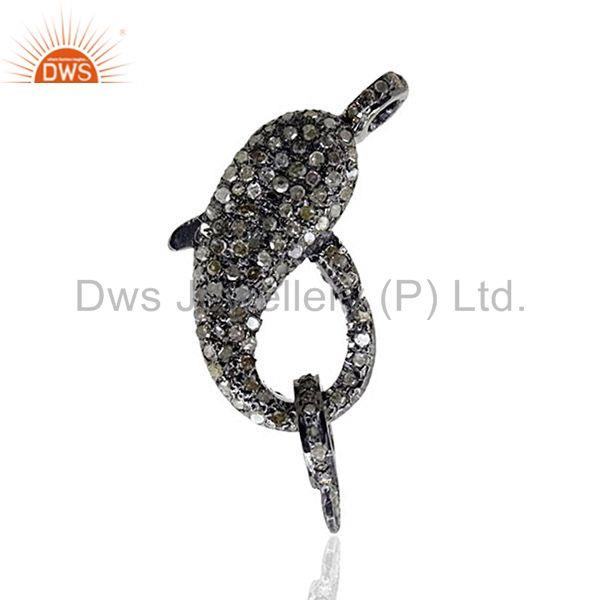 925 sterling silver pave natural diamond lobster clasp handmade jewelry finding