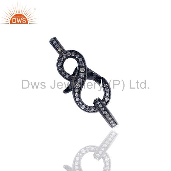 Pave Diamond 925 Silver Lobster Clasp & Spring Lock Finding Jewelry Component