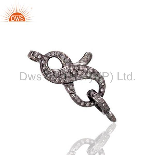 Sterling silver latest real diamond pave lobster clasp connector finding jewelry