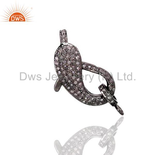 Sterling silver diamond pave latest fish lobster clasp finding jewelry 31x8 mm