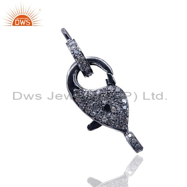 Natural pave diamond 925 sterling silver lobster clasp finding wondering jewelry