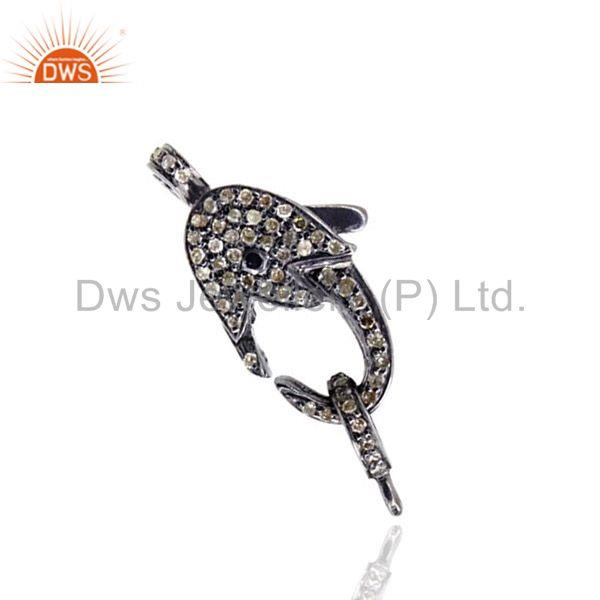Latest pave diamond lobster clasp finding sterling silver vintage style jewelry