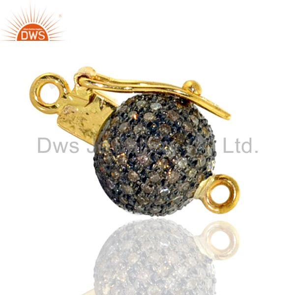 Pave diamond clasp spacer finding 14k gold 925 sterling silver designer jewelry
