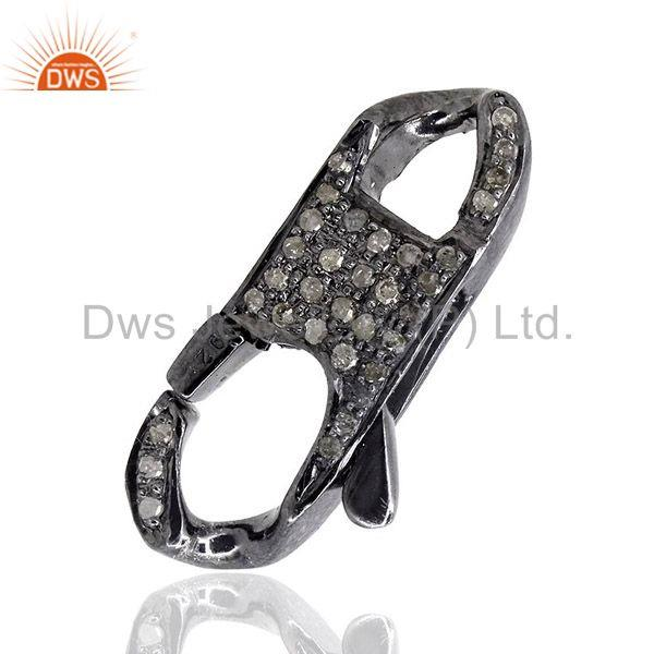 Lobster clasp 0.74ct diamond pave 925 sterling silver lock finding jewelry 27x13