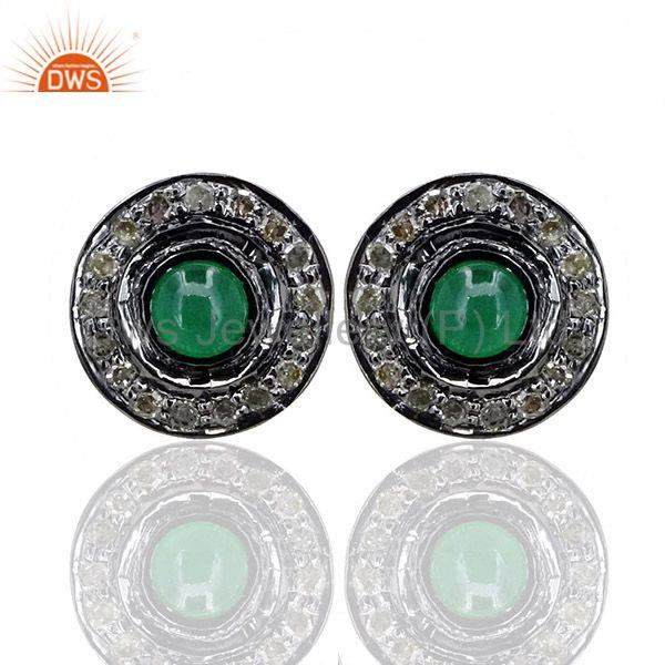 Emerald Diamond Handmade Fine Stud Earrings Sterling Silver 14K Gold Jewelry CY