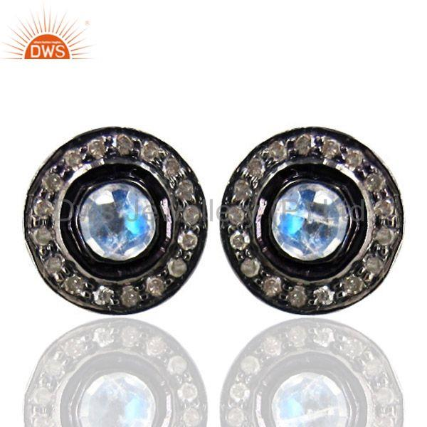 14K Gold Diamond Moonstone Stud Earrings Sterling Silver Vintage Look Jewelry CY