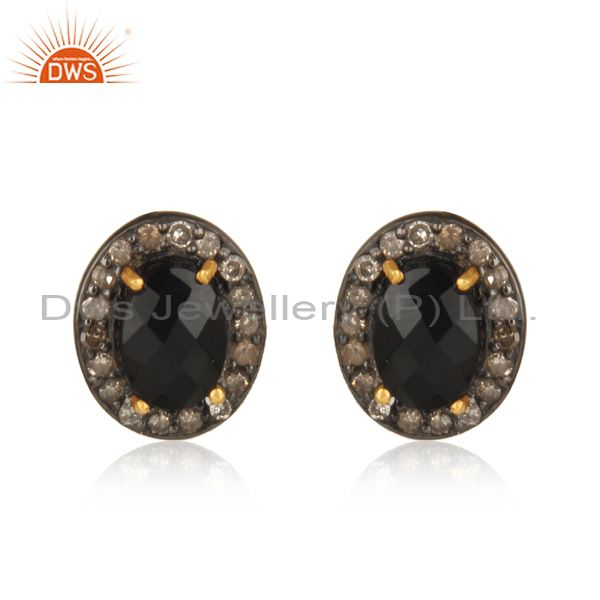 14k Gold Black Spinel Diamond Pave Stud Earrings Sterling Silver Fashion Jewelry