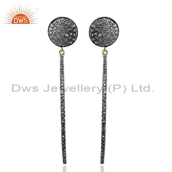 Pave White Topaz Gemstone Stick Dangle Earrings Sterling Silver Jewelry 14k Gold