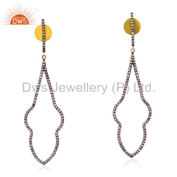 1.17 ct Pave Diamond 14kt Gold Dangle Earrings 925 Sterling Silver Women Jewelry