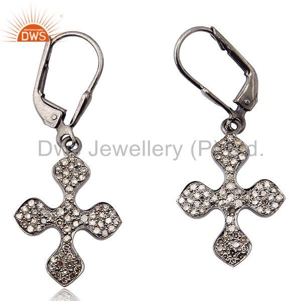 0.61 ct Pave Diamond .925 Sterling Silver Cross Design Clip On Earrings Jewelry