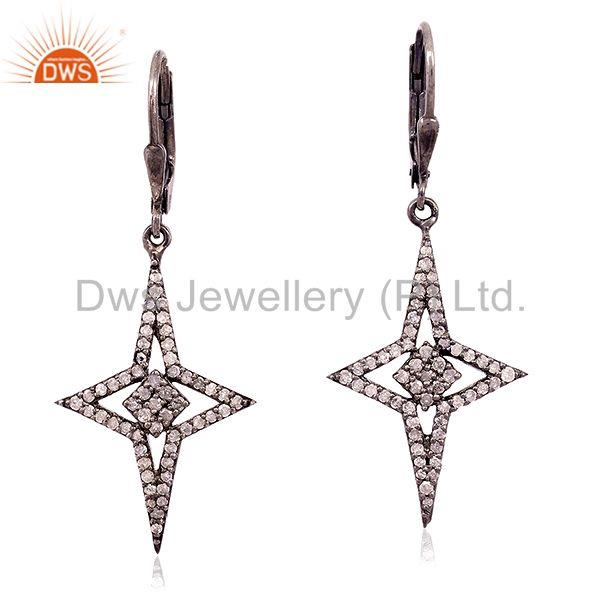 0.88ct Natural Pave Diamond Sterling Silver Star Design Clip On Earrings Jewelry