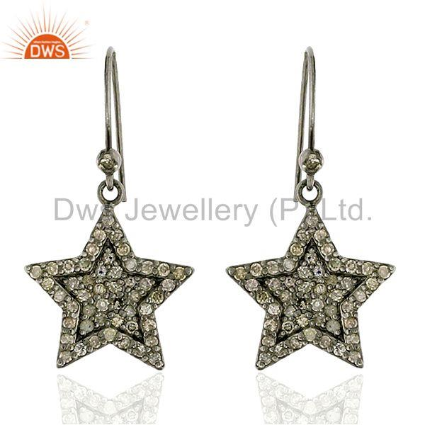 1.31ct Pave Diamond .925 Sterling Silver Star Design Hook Earrings Women Jewelry