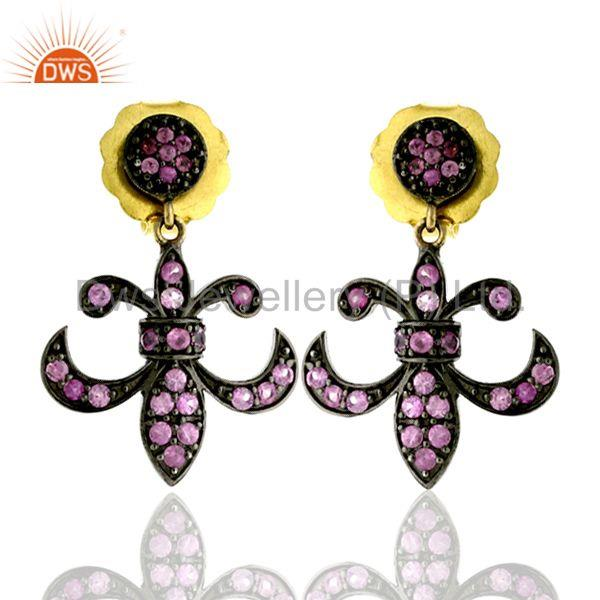 0.85ct Pink Sapphire Fleur De Lis Design Dangle Earrings 14k Gold Silver Jewelry