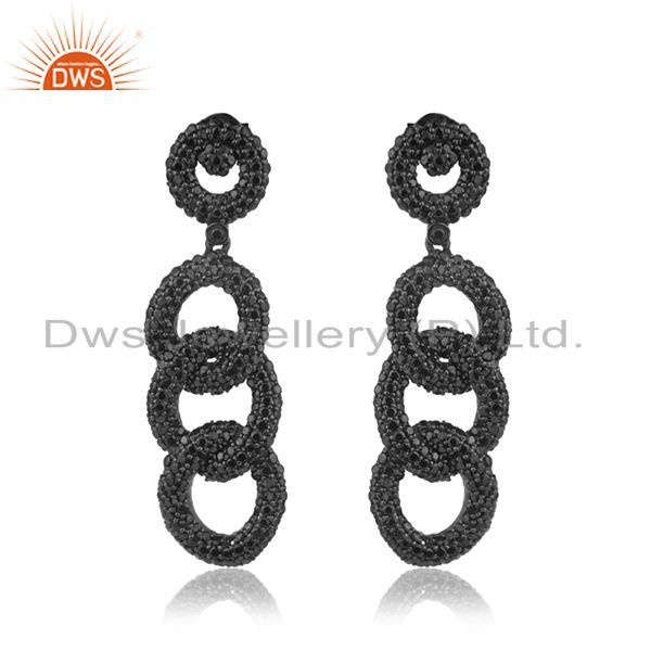 925 Sterling Silver Black Spinel Pave Link Chain Long Earrings
