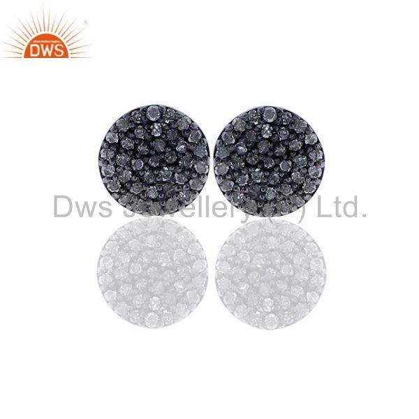 Disc & Round Shape Diamond Stud Earrings Silver Gold Jewelry Gift For Christmas