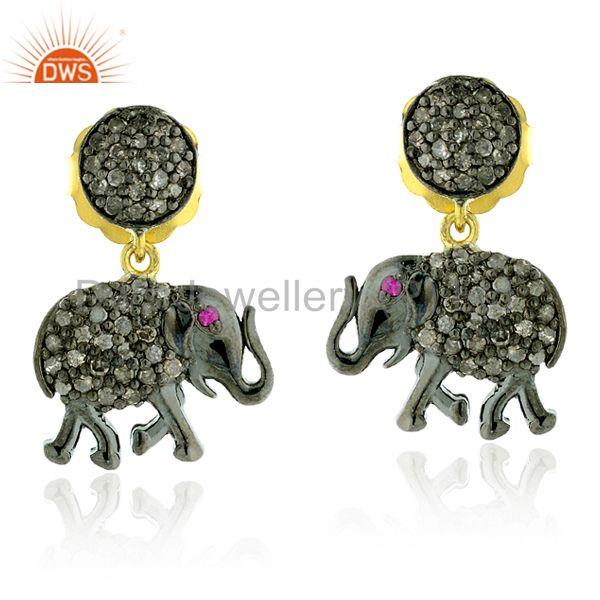 """Elephant Charm Dangle Earrings 0.93ct Diamond Gemstone 14kt Gold Silver Jewelr"