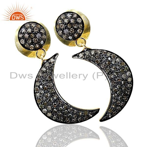 Diamond pave 925 sterling silver crescent/half moon dangle earrings fine jewelry