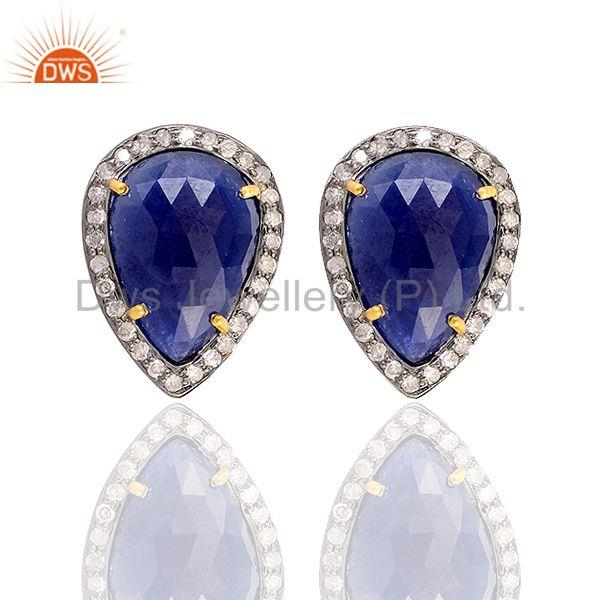 18kt gold 8ct sapphire diamond 925 sterling silver stud earrings fashion jewelry