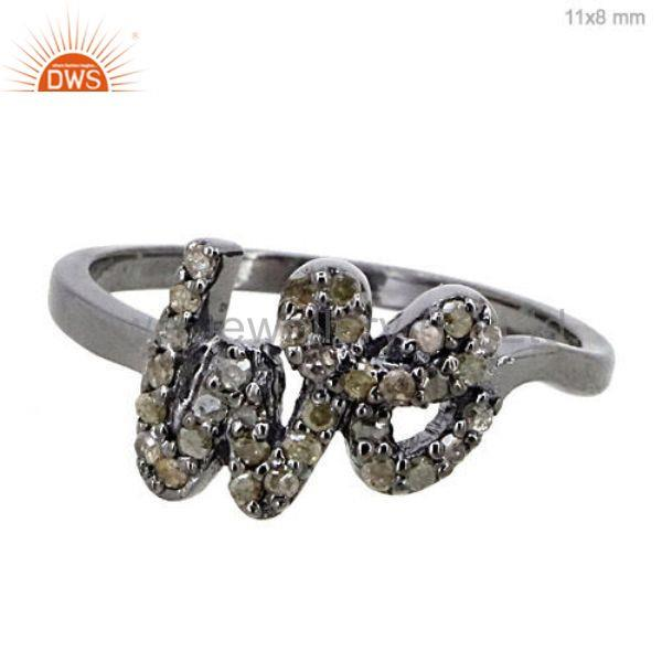 1/4 ct pave diamond we signet ring vintage style jewelry solid sterling silver
