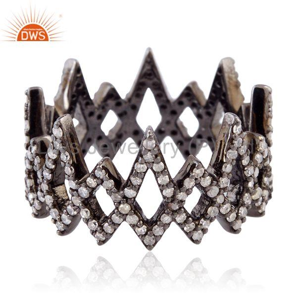 0.85ct natural pave diamond 925 sterling silver handmade band ring women jewelry