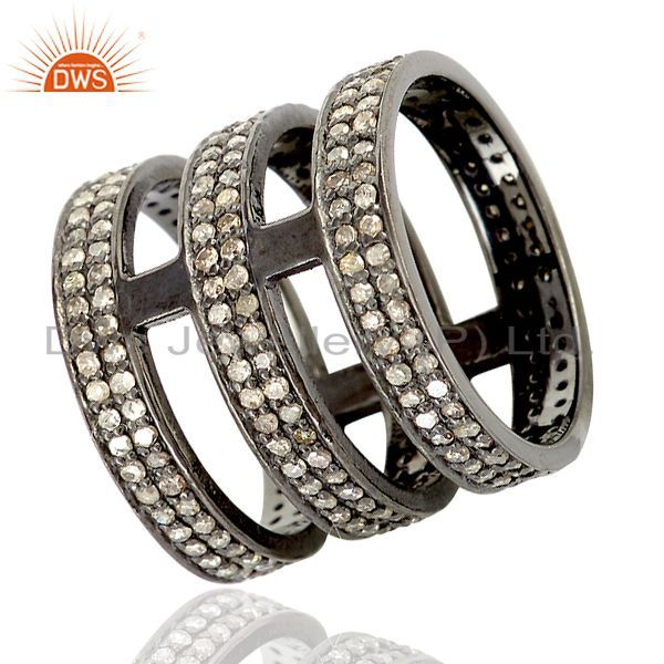 Pave diamond black rhodium plated 925 silver rings manufacturers