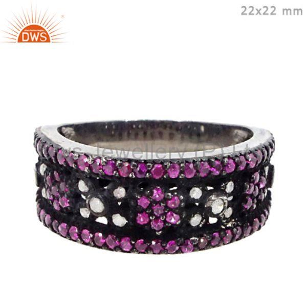 Natural ruby and pave diamond sterling silver promise rings jewelry