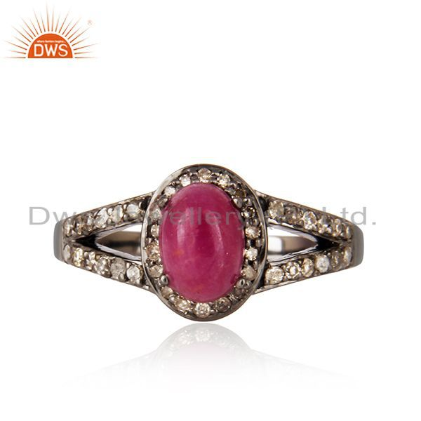 Ruby gemstone diamond studded solitaire ring 925 sterling silver vintage jewelry
