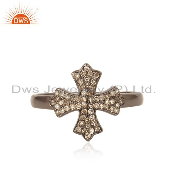 Diamond christian cross ring sterling silver vintage style handmade jewelry qy