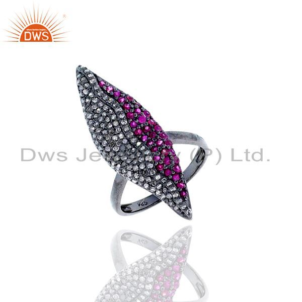 Ruby gemstone diamond 925 sterling silver party wear ring us 7 jewelry for women