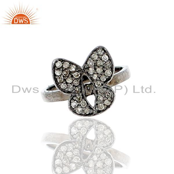 Natural pave diamond midi ring us 7 sterling silver jewelry gift for friend